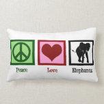 Peace Love Elephants Throw Pillows