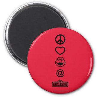 Peace Love Elmo 2 Inch Round Magnet