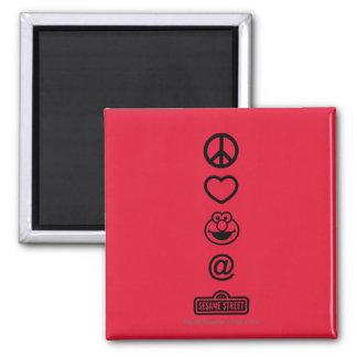Peace Love Elmo 2 Inch Square Magnet