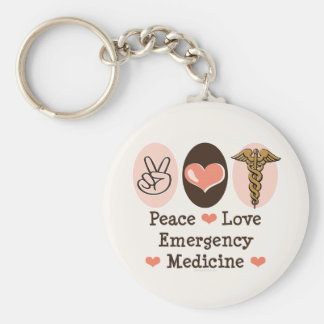Peace Love Emergency Medicine Key Chain