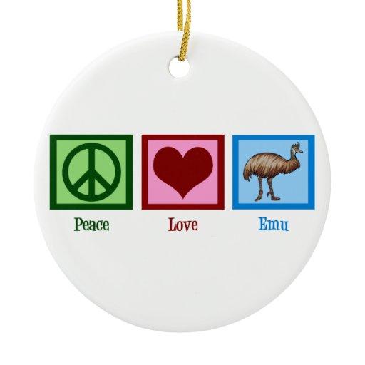 Peace Love Emu Ceramic Ornament