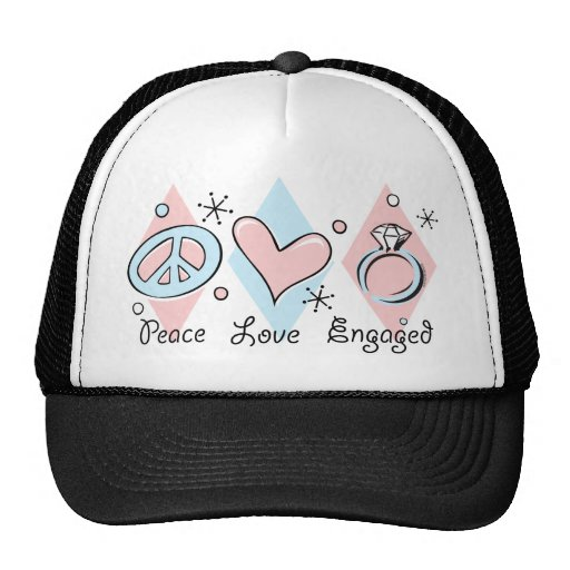 Peace Love Engaged Hats