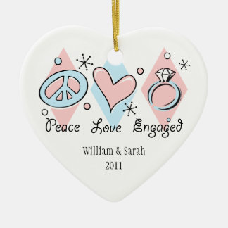 Peace Love Engaged Personalized Ornament