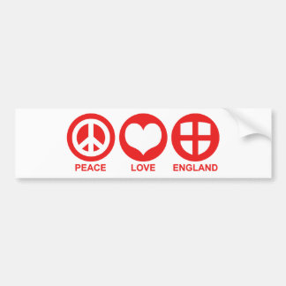 Peace Love England Bumper Stickers