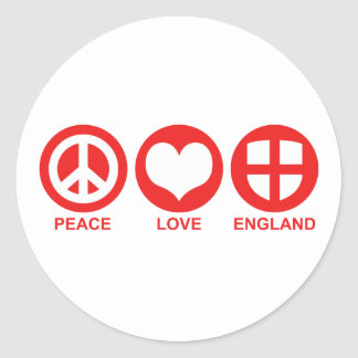 Peace Love England Round Stickers