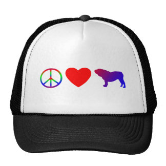 Peace Love English Bulldogs Hat