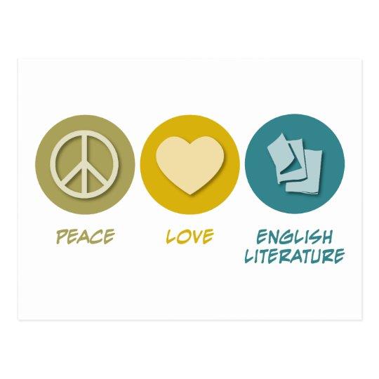 Peace Love English Literature Postcard