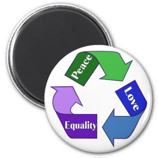 Peace Love Equality 2 Inch Round Magnet