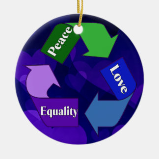 Peace Love Equality Ceramic Ornament