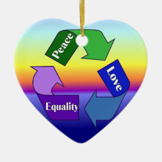 Peace Love Equality Ceramic Ornament