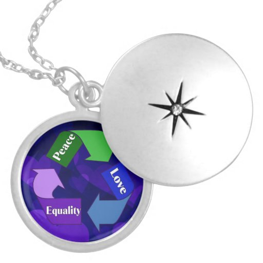 Peace Love Equality Round Locket Necklace