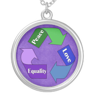 Peace Love Equality Round Pendant Necklace