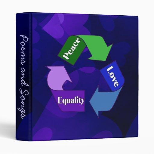 Peace Love Equality Vinyl Binders