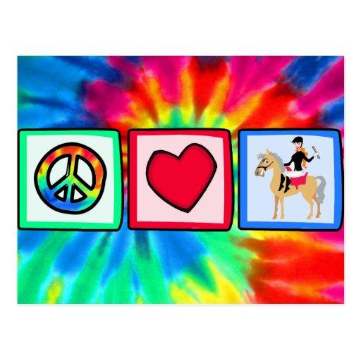 Peace, Love, Equestrian Postcard