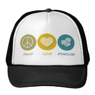 Peace Love Etymology Mesh Hat