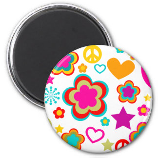 Peace Love & Everything Girly 2 Inch Round Magnet