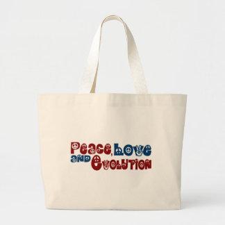 Peace Love Evolution Large Tote Bag