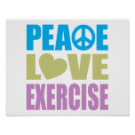 Peace Love Exercise Poster