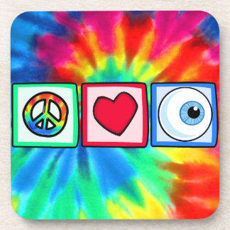 Peace, Love, Eyeball Drink Coasters