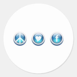 Peace Love Facebook Classic Round Sticker