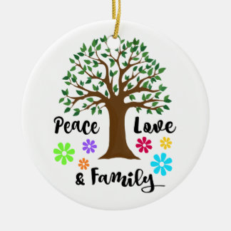 Peace Love Family Tree Reunion Christmas Gift Ceramic Ornament
