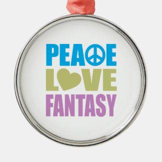 Peace Love Fantasy Round Metal Christmas Ornament
