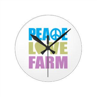 Peace Love Farm Round Clock