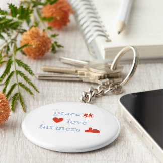 Peace Love farmers Squares Keychain