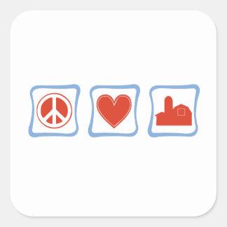 Peace Love farmers Squares Square Sticker