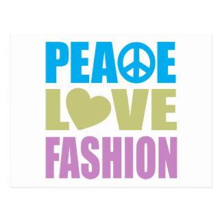 Peace Love Fashion Postcard