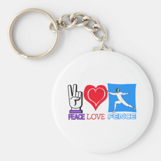 PEACE LOVE FENCE BASIC ROUND BUTTON KEYCHAIN