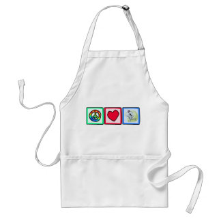 Peace, Love, Fencing Adult Apron