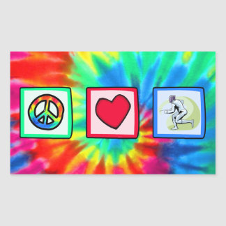 Peace, Love, Fencing Rectangular Stickers