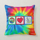 Peace, Love, Fencing Throw Pillow
