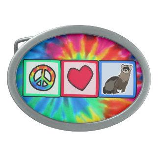 Peace, Love, Ferrets Oval Belt Buckles