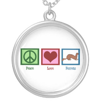Peace Love Ferrets Silver Plated Necklace