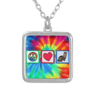 Peace, Love, Ferrets Square Pendant Necklace