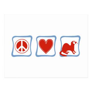 Peace Love Ferrets squares Postcard