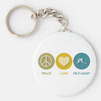 Peace Love Field Hockey Basic Round Button Keychain