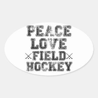 Peace, Love, Field Hockey Oval Sticker