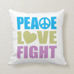 Peace Love Fight Throw Pillow