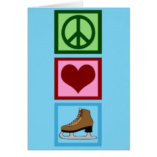 Peace Love Figure Skating Ice Skates Card