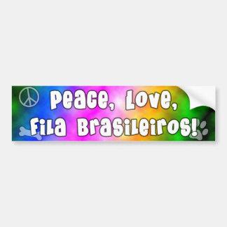 Peace Love Fila Brasileiros Bumper Sticker Car Bumper Sticker