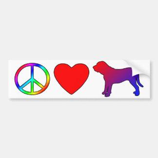 Peace Love Fila Brasileiros Bumper Sticker