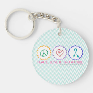Peace, Love & Find a Cure Key Chain