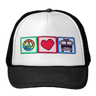 Peace, Love, Fire Trucks Hat