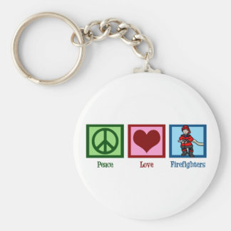Peace Love Firefighters Basic Round Button Keychain
