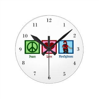 Peace Love Firefighters Round Wallclocks