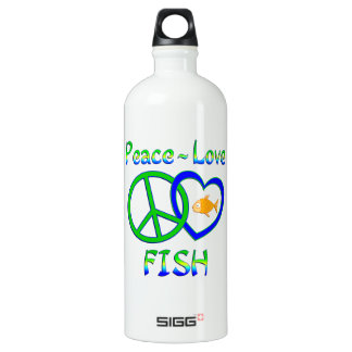 Peace Love Fish Aluminum Water Bottle