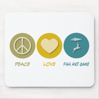 Peace Love Fish and Game Mouse Mat